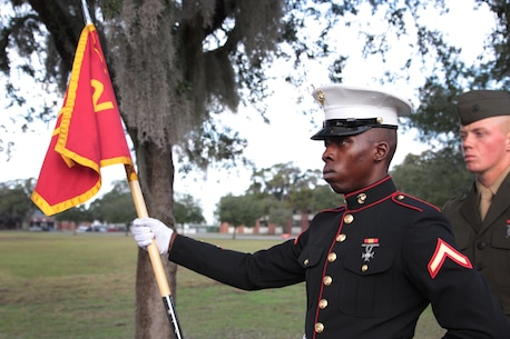 Pfc. Adedeji O. Adetunji, an Honor Graduate of platoon 2102, stands at parade rest while waiting to graduate bootcamp Dec. 18, 2015, at Marine Corps Depot Parris Island, S.C. Adetunji, a native of Atlanta, Ga., was recruited by Sgt. Gregory Desire at Recruiting Station Atlanta. To be recommended as an honor graduate, a recruit must not only display honor, courage, and commitment during their three months of training but excel in physical training, knowledge, and have a team player disposition. (Official Marine Corps photo by Cpl. Diamond Peden)