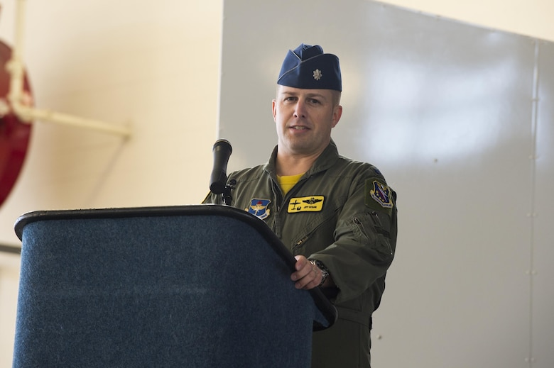 U.S. Air Force Lt. Col. Jeffrey Hogan, 81st Fighter Squadron commander, congratulates the Afghan air force pilots and instructor pilots during the graduation of the 81st Fighter Squadron's first student pilot class, Dec. 18, 2015, at Moody Air Force Base, Ga. The 81st Fighter Squadron was reactivated in January 2015. (U.S. Air Force photo by Senior Airman Ceaira Tinsley)