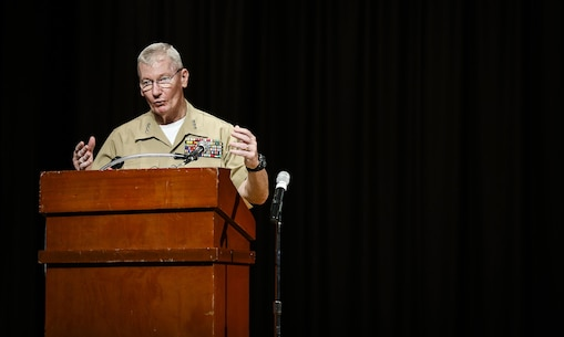 Lt. Gen. John A. Toolan, commander, U.S. Marine Corps Forces, Pacific, speaks during the First Responder Recognition Ceremony at the Neal S. Blaisdell Center, in Honolulu, Dec. 18, 2015.  U.S. Marine Corps Forces, Pacific recognized Honolulu's first responders who assisted during the rescue and treatment of Marines and sailors in the aftermath of the 15th Marine Expeditionary Unit MV-22 Osprey tilt-rotor aircraft mishap.