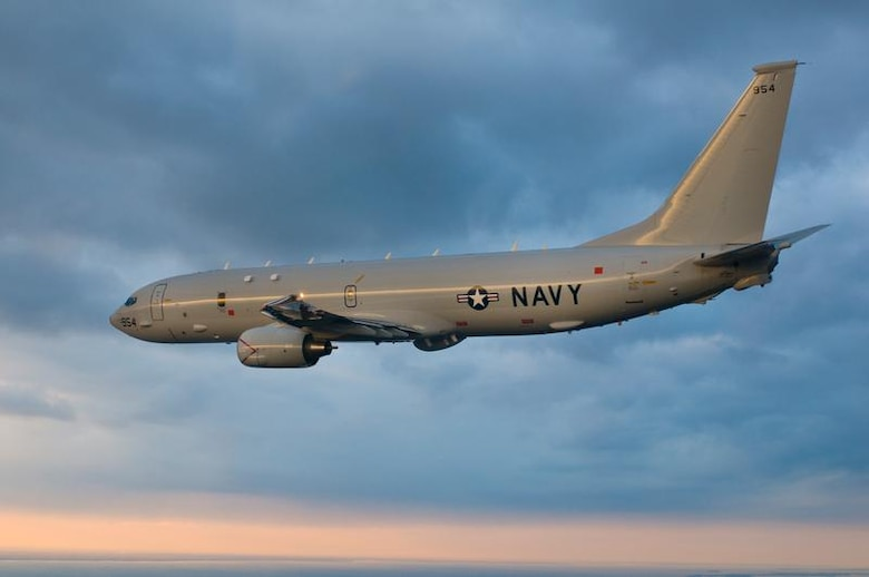 TYNDALL AIR FORCE BASE, Fla.--  Here is the Navy's P-8A Poseidon aircraft, the newest addition to its anti-submarine & intelligence, surveillance and reconnaissance platforms, in flight. It's the replacement  for the P-3 Orion legacy aircraft, which in the past has proven valuable to the Air Forces Northern organization for the incident awareness and assessment portion of Defense Support of Civil Authorities missions. (Courtesy Navy Photo Released)