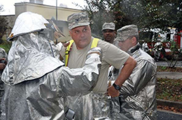 Col Jimmie Brooks recently participated in a firefighting exercise.