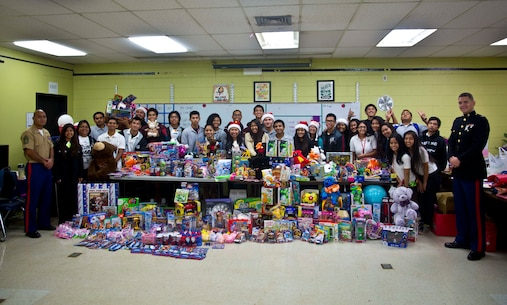 Simon A. Sanchez High School students donated toys towards the 2015 Toys for Tots toy drive.