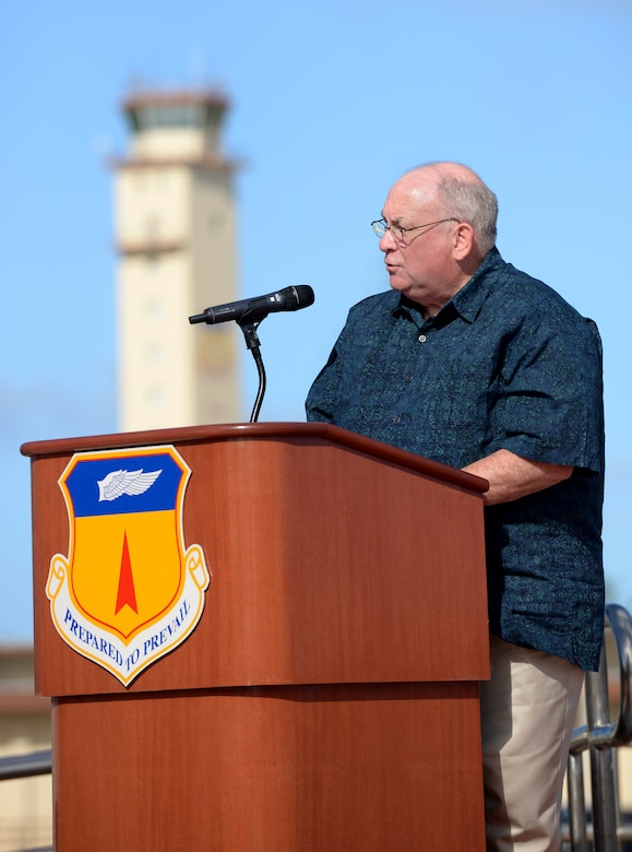 Dr. James Willbanks, director of the Department of Military History at U.S. Army Command and General Staff College, speaks about his experience during the Vietnam War during the Linebacker II Remembrance Ceremony Dec. 18, 2015, at Andersen Air Force Base, Guam. Willbanks was an infantry captain during his time in Vietnam and witnessed numerous B-52 bombing campaigns that turned the tide of battle. (U.S. Air Force photo/Staff Sgt. Benjamin Gonsier)