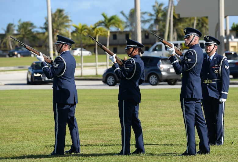 Andersen Blue Knights conduct a fire party sequence during the Linebacker II Remembrance Ceremony Dec. 18, 2015, at Andersen Air Force Base, Guam. After Operation Linebacker II, 15 B-52 Stratofortresses were lost and 33 Airmen were killed. (U.S. Air Force photo/Staff Sgt. Benjamin Gonsier)
