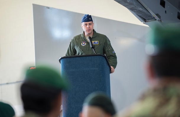 Col. John Nichols, the 14th Flying Training Wing commander, speaks during the graduation of the first 81st Fighter Squadron's student pilot class Dec. 18, 2015, at Moody Air Force Base, Ga. The Afghan air force pilots began their classroom training in February 2015 and launched on their first A-29 Super Tucano training sorties in March 2015. (U.S. Air Force photo/Senior Airman Ceaira Tinsley)