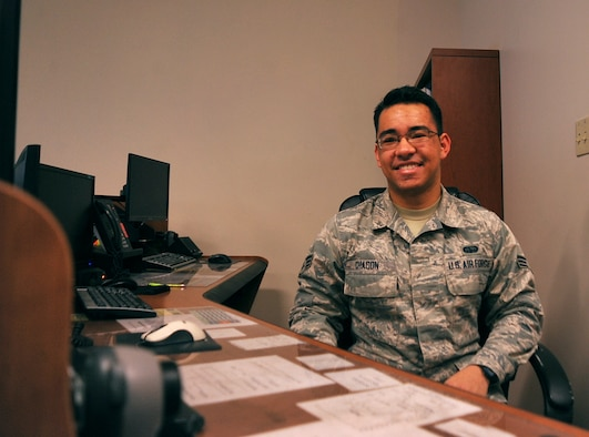 Senior Airman David Chacon, 319th Communications Squadron High Frequency Global Communication System radio technician, helps operate one of two HFGCS sites in the United States at Grand Forks Air Force Base, North Dakota, Dec. 21, 2015. Chacon was selected for Warrior of the Week for the fourth week of December. (U.S. Air Force photo by Senior Airman Bonnie Grantham/Released)