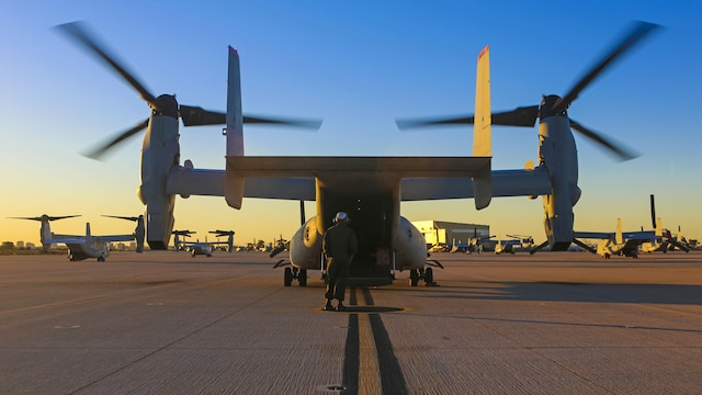 Marines with Marine Medium Tiltrotor Squadron 363 perform post-flight checks on an MV-22B Osprey after an aerial refueling training event at Marine Corps Air Station Miramar, California, Dec. 16. The squadron conducts this annual training once every two months to maintain their proficiency with the maneuvers.