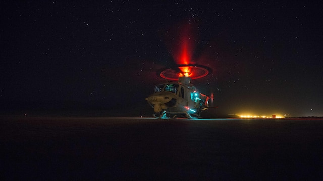 U.S. Marines with 1st Reconnaisance Battalion board a UH-1Y Huey Venom during Steel Knight 16 at Marine Corps Air Ground Combat Center Twentynine Palms, California, Dec. 11, 2015. Steel Knight is an annual field training exercise that enables 1st Marine Division to test and refine its command and control capabilities by acting as the headquarters element for a forward-deployed Marine Expeditionary Force.