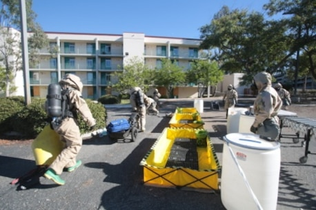 Marines pass the decontamination line to enter a building contaminated with black mold at Marine Corps Base Camp Pendleton, Calif., Dec. 17. Once inside, the Marines identified other potentially dangerous substances as part of Chemical, Biological, Radioactive and Nuclear Assessment and Consequence Management training. The training included CBRN defense specialists and other Marines from Headquarters Regiment, 1st Marine Logistics Group, I Marine Expeditionary Force, who learned how to perform decontamination procedures