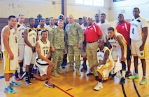 Maj. Gen. Wayne W. Grigsby Jr., 1st Infantry Division and Fort Riley commanding general, and Division Command Sgt. Maj. Joseph Cornelison were in attendance for the Fort Riley basketball team's first game Nov. 14. The team hosted two squads from the Central U.S. Military Basketball Conference Nov. 14 and 15: Whiteman Air Force Base, Missouri, and Tinker Air Force Base, Oklahoma.