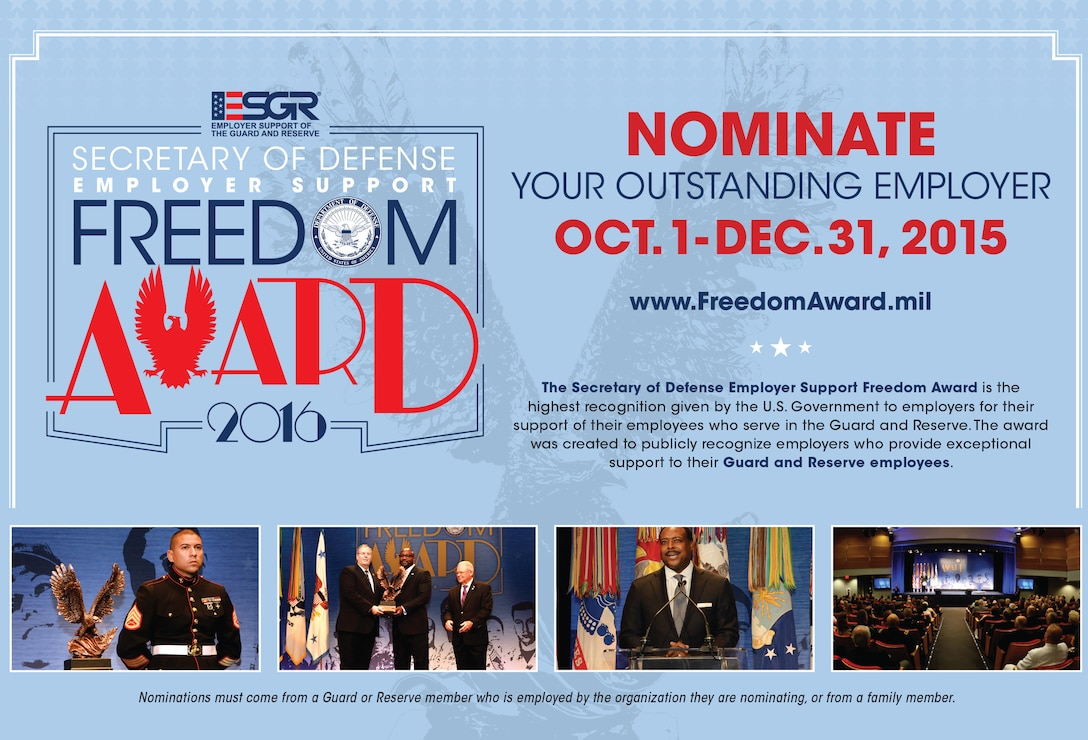 Nominate your outstanding employer. Deadline is Dec. 31, 2015. (Graphic by ESGR)