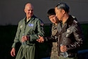 Col. Andrew Hansen, 51st Fighter Wing commander, discusses beddown capabilities with Republic of Korea air force Lt. Gen. Lee, Wang Keun, Air Force Operations Command commander, at Osan Air Base, ROK, Dec. 17, 2015. Senior leaders from the ROK AFOC toured the base to learn about the various aircraft, mission and capabilities the 51st FW supports on the peninsula. (U.S. Air Force photo/Tech. Sgt. Travis Edwards)