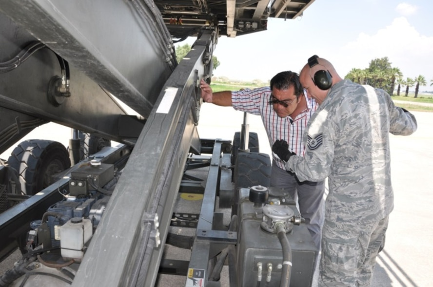 Tech. Sgt. Justin Weger, 425th Air Base Squadron Logistics airlift services NCO in charge, and Gökhan Yavas, 425th ABS logistics airlift services cargo checker, check the oil level of an aircraft cargo loader to make sure it is mission ready and capable June 30, 2015, at Çigli 2nd Main Jet Base, Turkey. Airmen and local Turkish nationals of the 425th Air Base Squadron work together to support U.S. and Turkish military operations in Izmir . The U.S. and Turkey are long-time NATO Allies. (U.S. Air Force photo by Tanju Varlikli)