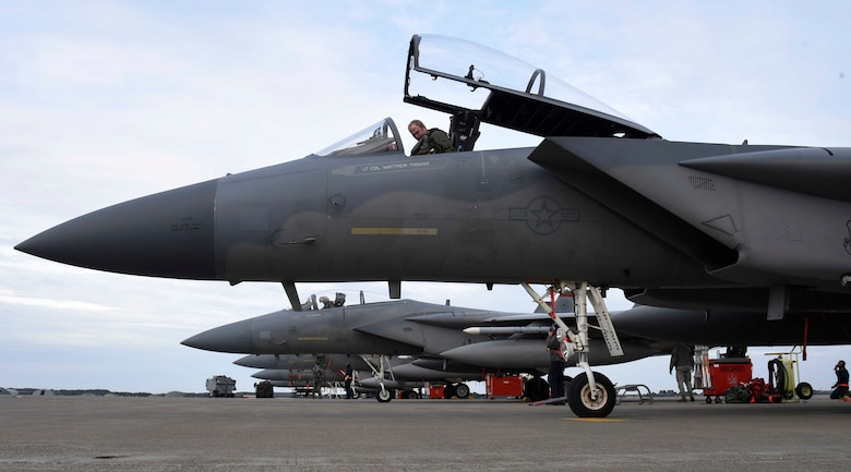 U.S. Air Force Capt. Brian Anderson, a 67th Fighter Squadron pilot, prepares for a flight at Misawa Air Base, Japan, Dec. 15, 2015. Pilots demonstrated interoperability during this Aviation Training Relocation by conducting fighter aircraft combat training with their Japan Air Self-Defense Force counterparts. (U.S. Air Force photo/Airman 1st Class Jordyn Fetter)