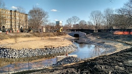 December 19, 2015 - Looking downstream towards Ave Louis Pasteur, the Muddy River begins flowing around the recreated historic Olmsted Island after the pumps were turned off.