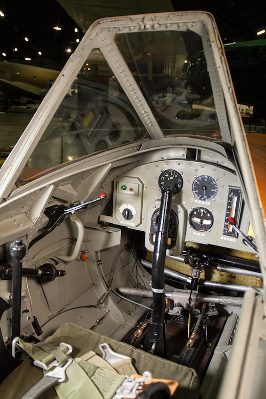 Yokosuka MXY7-K1 Ohka Trainer cockpit in the World War II Gallery at the National Museum of the United States Air Force. (U.S. Air Force photo by Ken LaRock)