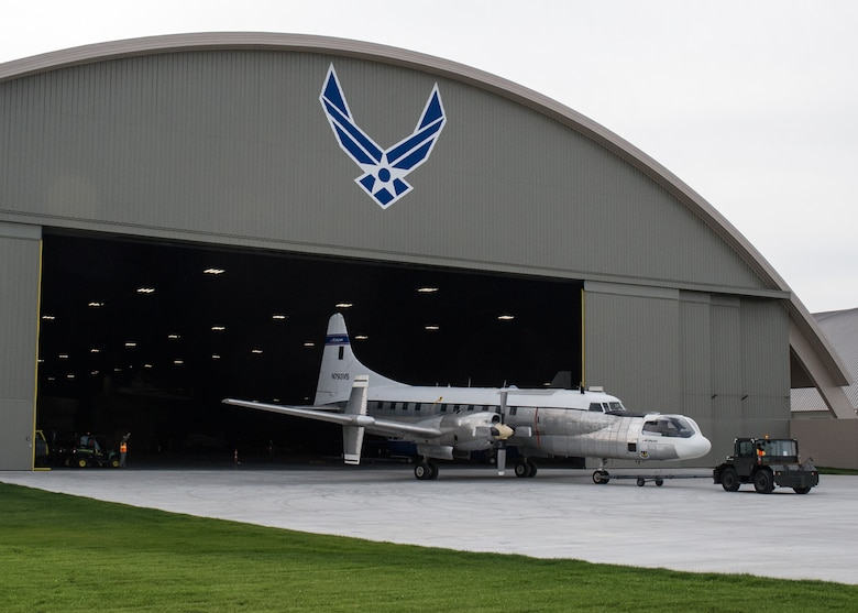 The Convair NC-131H Total In-Flight Simulator (TIFS) in front of the museum's fourth building on Dec, 8,2015. (U.S. Air Force photo)