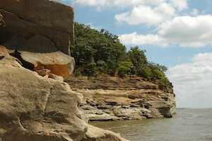 Red Sandstone bluffs along Lake Red Rock's northwest shore