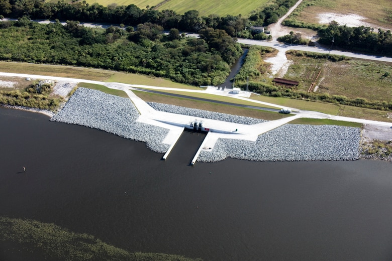 A finished culvert constructed in the Herbert Hoover Dike along the east side of the dam near Port Mayaca. The U.S. Army Corps of Engineers plans to replace 26 such structures as part of its rehabilitation of the 143-mile dike surrounding Lake Okeechobee in south Florida.