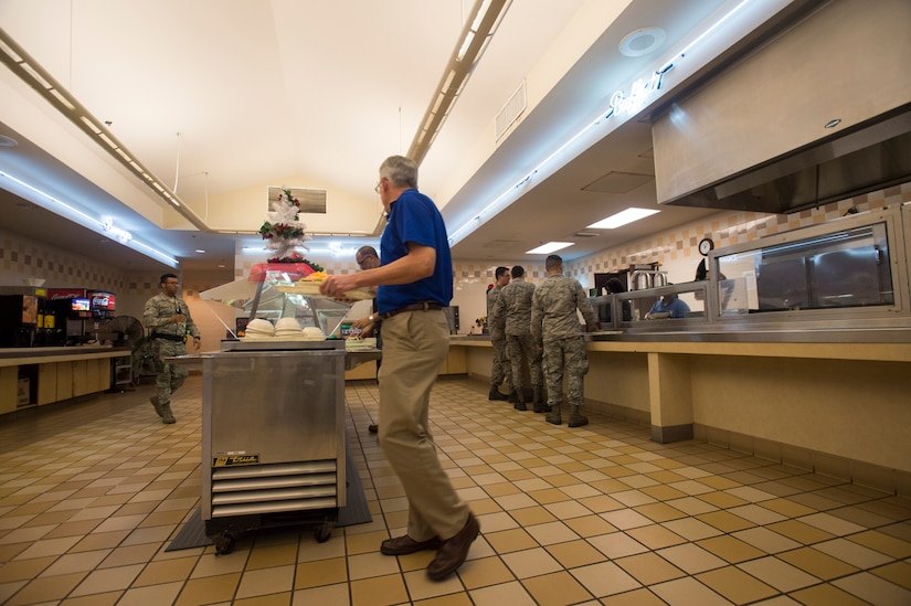 Joint Base Charleston members utilize the Air Base dining facility Dec. 23, 2015, on JB Charleston – Air Base, S.C. The Air Base DFAC will be serving Christmas lunch and dinner for anybody who has unrestricted access to JB Charleston. (U.S. Air Force photo/Staff Sgt. George Goslin)