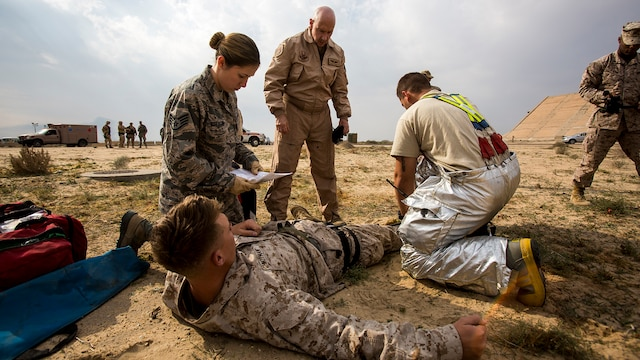 U.S. Air Force medical personnel perform initial triage on a simulated casualty during a mass casualty exercise at an undisclosed location in Southwest Asia, Dec. 23, 2015. Canadian forces, U.S. Air Force and Army medical personnel, along with U.S. Marines and Navy corpsmen with Special Purpose Marine Air Ground Task Force – Crisis Response – Central Command, participated in the joint exercise to hone the coalition's medical response capabilities.  SPMAGTF-CR-CC is currently deployed to the U.S. Central Command area of responsibility with a mission spanning 20 nations.