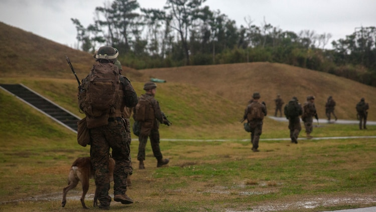 Marines with Maritime Raid Force, 31st Marine Expeditionary Unit, leave from their objective after a raid Dec. 10, 2015 on Camp Hansen, Okinawa, Japan. The raid was part of the Interoperability Exercise 16-1. INTEROP is the first opportunity the Force Reconnaissance Platoon, Amphibious Reconnaissance Platoon, and the rifle platoon from the MEU's Battalion Landing Team have to combine as the MRF with the 31st MEU.