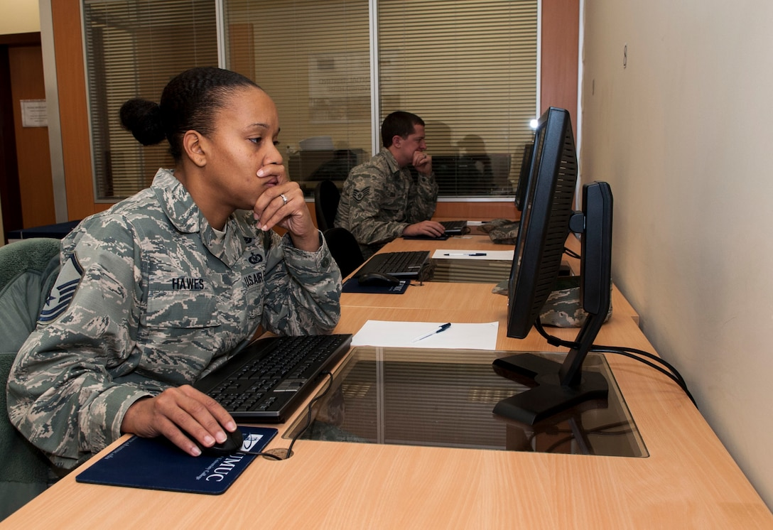 Master Sgt. Toiseng Hawes, 39th Air Base Wing equal opportunity director takes a College Level examination program standardized tests at the Education Center  during the two week long CLEP-A-Thon, Dec. 7, 2015, at Incirlik Air Base, Turkey. The Education Center's CLEP-A-Thon offered DoD card holders the opportunity to participate in a first come first served style college level examination program and DANTES subject standardized tests as opposed to scheduling the tests. (U.S. Air Force photo by Staff Sgt. Jack Sanders/Released)