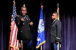 Army Col. Derrin E. Williams, commander of Defense Logistics Agency Central, addresses a class of new Army officers, including Army 2nd Lt. Marcus Rivers, at a Dec. 11 ceremony at Florida A&M University in Tallahassee.