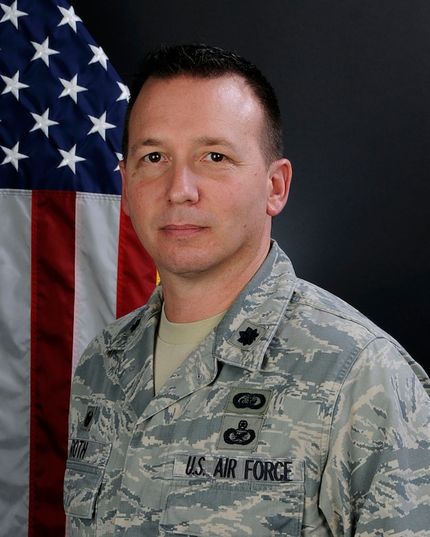 U.S. Air Force Lt. Col. James Roth II, 169th Force Support Squadron commander at McEntire Joint National Guard Base, S.C., Dec. 10, 2015. (U.S. Air National Guard photo by Airman Megan Floyd/Released)