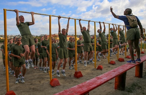 Recruits of India Company, 3rd Recruit Training Battalion, conduct pull-ups during a physical training event at Marine Corps Recruit Depot San Diego, Dec. 28. During the event, drill instructors motivated each recruit to try their best while conducting each set of exercises. Annually, more than 17,000 males recruited from the Western Recruiting Region are trained at MCRD San Diego.