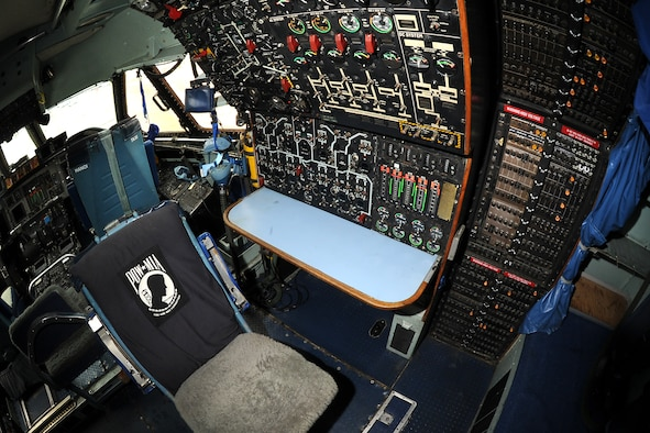 Lockheed C-141C flight engineer station at the National Museum of the United States Air Force. (U.S. Air Force photo by Ken LaRock)