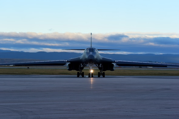A B-1 bomber prepares for takeoff at Ellsworth Air Force Base, S.D., Sept. 18, 2015. Ellsworth aircraft began conducting training missions in the Powder River Training Complex, allowing for an 85 percent increase in local flight training, ensuring more efficient use of our resources. (U.S. Air Force photo by Airman 1st Class James L. Miller/Released)