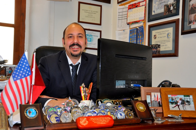 Tanju Varlıklı, 425th Air Base Squadron host nation adviser, at his office at 