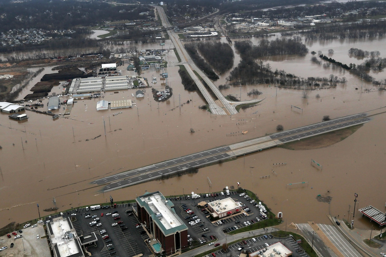 An aerial view from a Missouri National Guard UH-60 Black Hawk helicopter shows the effects of flooding in Valley Park, Mo., Dec. 30, 2015. Missouri National Guard photo