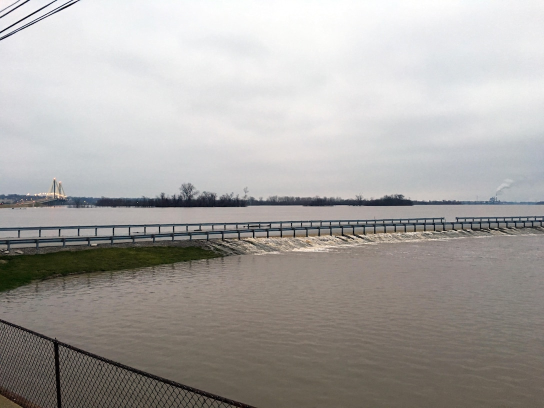 The Mississippi Valley Division, U.S. Army Corps of Engineers, fully activated its flood fighting emergency management operations for the Rock Island, St. Louis, Memphis, Vicksburg and New Orleans districts to manage rapidly rising water levels on the Mississippi River and several tributaries, with the highest Mississippi River levels since the Great Flood of 2011.  Photo shows overtopping along Riverlands Way at the entrance to the Rivers Project Office in West Alton, Missouri.