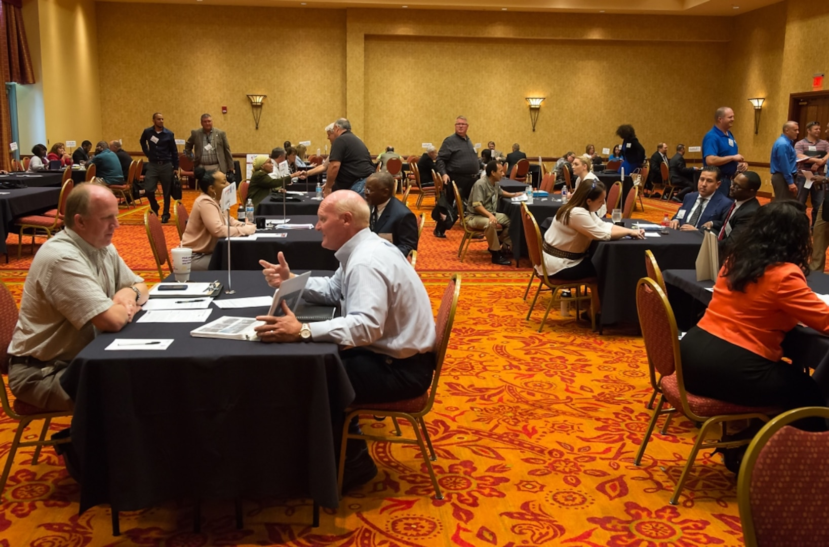 """Future vendors participating in """"matchmaking"""" sessions at the Indian Country Business Summit, co-sponsored by two Oklahoma PTACs in August 2015. These networking events let small-business representatives make connections with government agencies and prime contractors."""