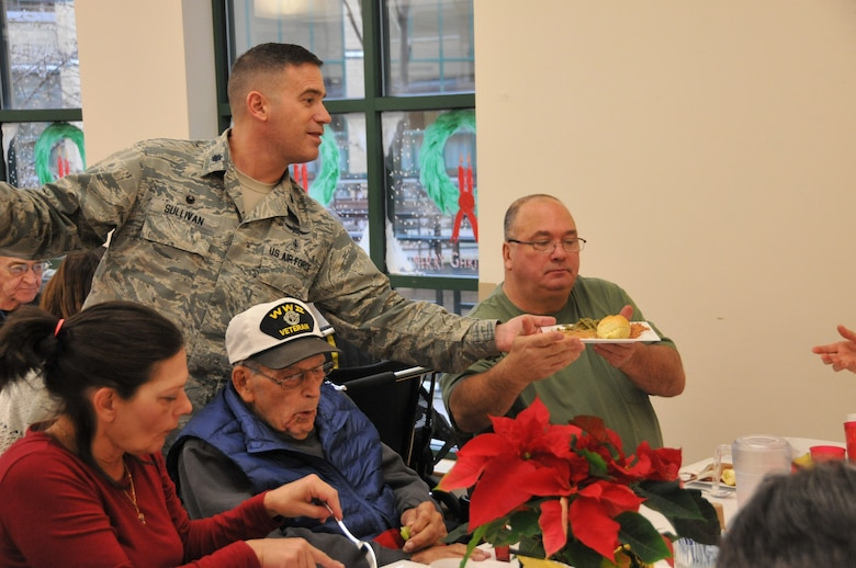 Air National Guardsmen from the 171st Air Refueling Wing, including the Commander of the 171st, Col. Gregg Perez, visited veterans this holiday season at the Southwestern Veterans Center in Pittsburgh, Pa. with Maj. Gen. James Joseph, the Adjutant General and Brig. Gen. Anthony Carrelli, the Deputy Adjutant General – Air. Dec. 15, 2015. During the visit guardsmen talked with the veteran residence and thanked them for their service. Guardsmen also served lunch, drinks and deserts to the veterans during their holiday meal.  (U.S. Air National Guard Photo by Major Karen Bogdan/Released)