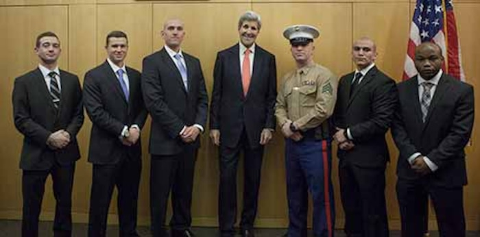 Det Geneva during a recent VIP visit by Sec State.  From right to left:  Cpl Haag, Cpl Sorensen, SSgt Rohn, The Honorable John Kerry, Sgt Macejko, Sgt  Marin, Sgt Young.