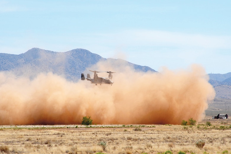 The 58th Special Operations Wing at Kirtland Air Force Base, N.M. has a plan to mitigate aircraft engine damage that happens during training missions, using a biodegradable binding material at practice landing zones. TerraLOC binds the dirt in a landing zone together so as to not stir up as much blowing dirt when a CV-22 Osprey lands there. (Courtesy photo)