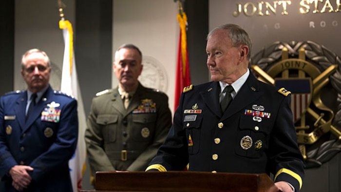 "Chairman of the Joint Chiefs of Staff Army Gen. Martin Dempsy gives opening remarks during the signing of the ""28-star"" Letter at the Pentagon, Feb. 2, 2015.  The letter challenges transitioning service members to continue serving their community and encouraged greater involvement between veterans and the public.  (U.S. Marine Corps photo by Lance Cpl. Remington Hall/released)"