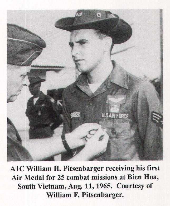 A1C William H. Pitsenbarger receiving an Air Medal. Medal of Honor recipient, Vietnam.