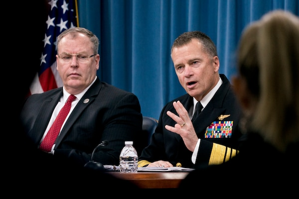 Navy Adm. James A. Winnefeld Jr., vice chairman of the Joint Chiefs of Staff, and Deputy Defense Secretary Bob Work discuss the president's fiscal year 2016 budget request during a news conference at the Pentagon, Feb. 2, 2015. DoD photo by Army Staff Sgt. Sean K. Harp