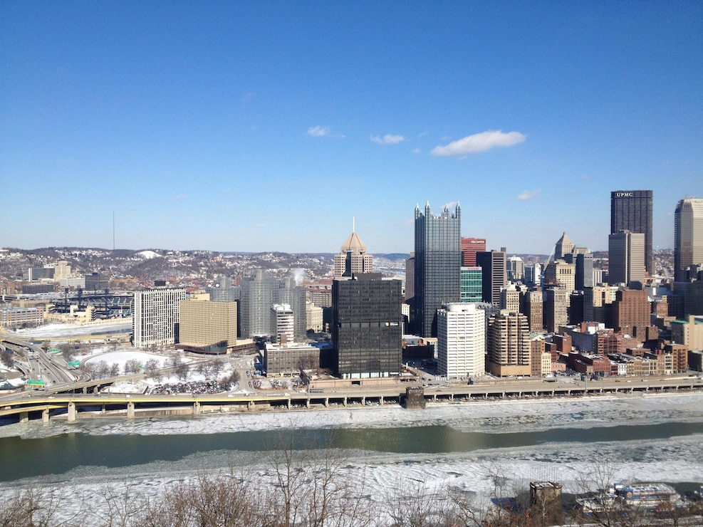 Pittsburgh skyline from Mt. Washington in the winter