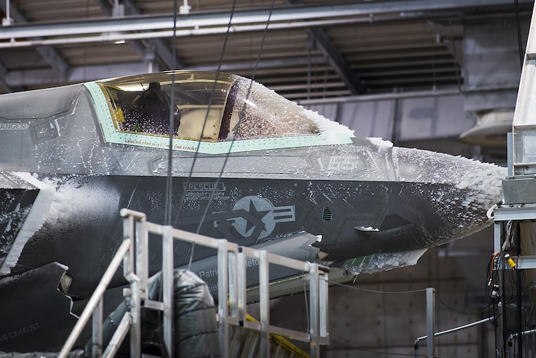 An F-35 Lightning II endures freezing temperatures in the 96th Test Wing's McKinley Climatic Laboratory Jan. 27, 2015, at Eglin Air Force Base, Fla. The joint strike fighter has undergone four months of climate testing in the lab to certify the fleet to deploy to any corner of the world. (U.S. Air Force photo/Samuel King Jr.)