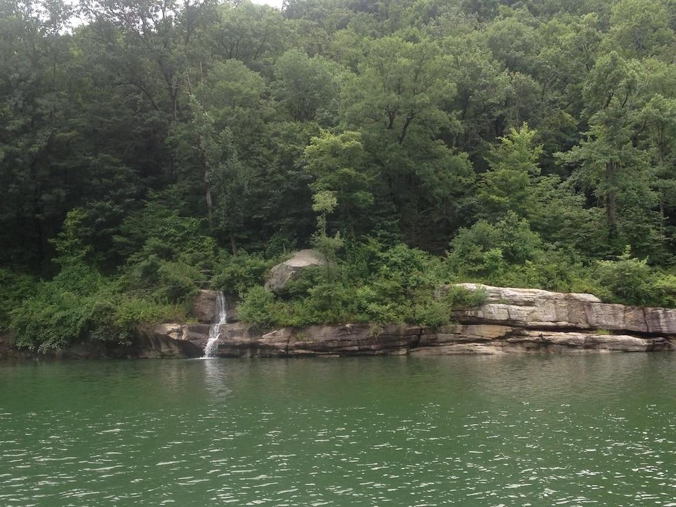 Unnamed stream cascades into Tygart Lake