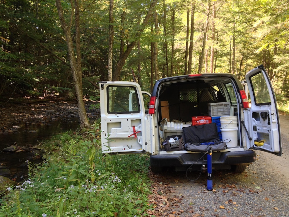 Sampling Mill Run, tributary to Youghiogheny River Lake.