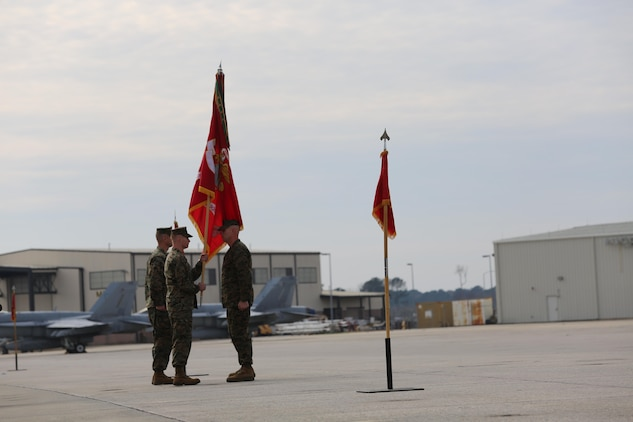 Lietenant Colonal Douglas DeWolfe relinquished command of Marine Fighter Attack Squadron 122 to Lt. Col. Derek M. Brannon in a ceremony on Merritt Air Field aboard Marine Corps Air Station Beaufort, Jan. 22.