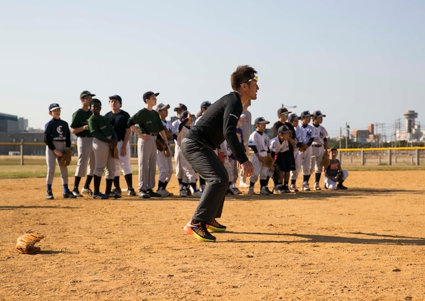 Keiichi Hirano, a Japanese major league baseball player, teaches Japanese and American kids, ages 9-13, basic fundamentals at a baseball clinic Jan. 24 on Camp Kinser. This was the first baseball clinic held on Camp Kinser.