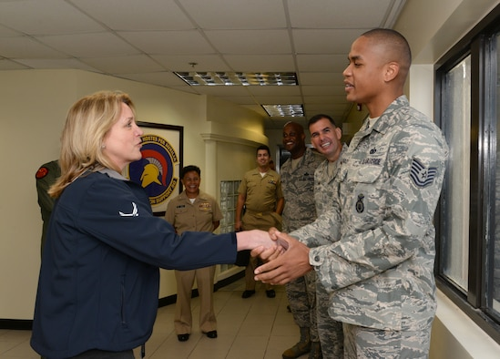 Secretary of the Air Force Deborah Lee James meets with Tech. Sgt. Oliver