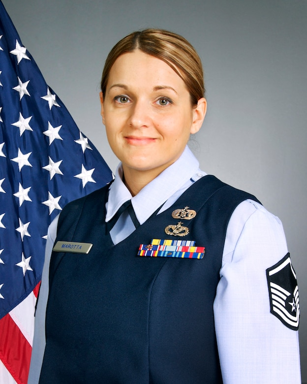 Master Sgt. Amanda L. Marotta was chosen as the Senior Noncommissioned Officer of the Year by the 108th Wing. The 108th, which is assigned to the New Jersey Air National Guard, is located at Joint Base McGuire-Dix-Lakehurst, N.J. (U.S. Air National Guard photo illustration by Tech. Sgt. Carl Clegg/Released)